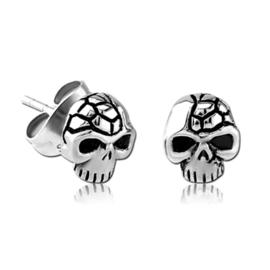stalen skull doodskopjes oorbellen