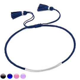 gekleurde touw armband zilveren balkje