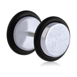Fake plug oorbel UV pastel zilver