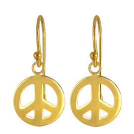 zilveren gold plated  Peace oorbellen
