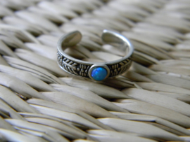 zilveren teenring blauwe Opaal
