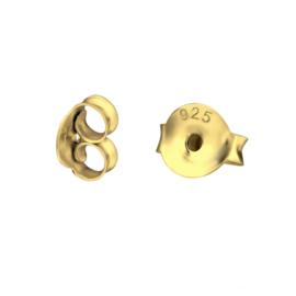 sterling zilveren gold plated  oorbel achterkantjes