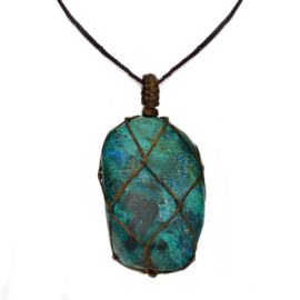 Chrysocolla gemstone braided necklace