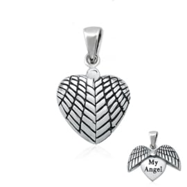 silver heart pendant with angel wings with text