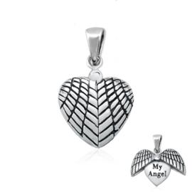 zilveren hartje hanger met engelvleugels met tekst