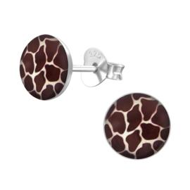 zilveren giraffe print oorbellen