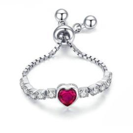 zilveren verstelbare hartje ketting ring