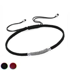 Gevlochten Bali zilveren staafje armband