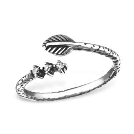 zilveren blaadje ring
