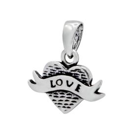 zilveren Tattoo hartje kettinghanger
