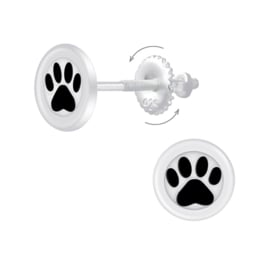 silver animal paws earrings with screws back