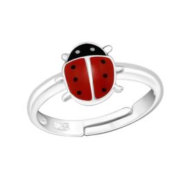 zilveren lieveheersbeestje ring