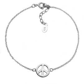 Zilveren Peace bedelarmband