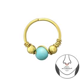 goud zilveren neuspiercing Turkoois