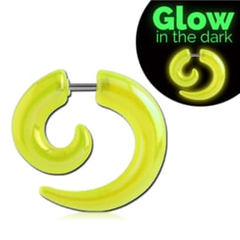 Glow in the dark spiral taper oorbel