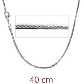 vierkante slangenketting Rhodium verguld