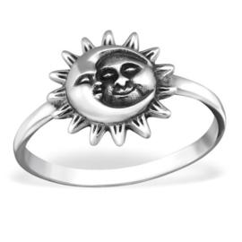 zilveren zon en maan ring