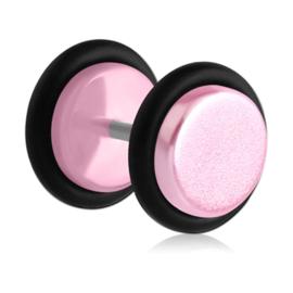 Fake plug oorbel UV pastel roze