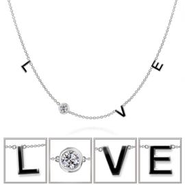 zilveren liefde love tekst ketting
