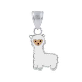 zilveren Alpaca lama kinderkettinghanger