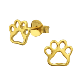 silver animal paws earrings gold plated
