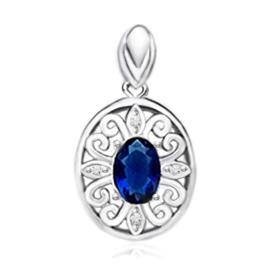 Zilveren ovaal kettinghanger met blauwe zirkonia