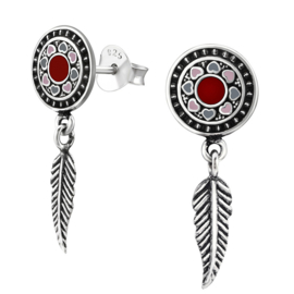 silver Bali earrings with feathers
