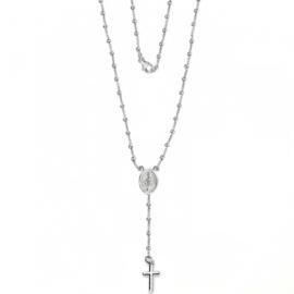 Zilveren dames rozenkrans kruis ketting