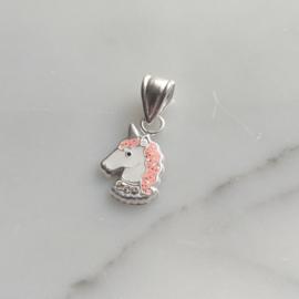 Zilveren eenhoorn kristal kettinghanger