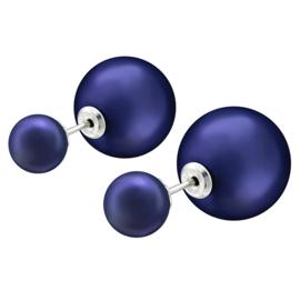 zilveren dubbel oorbellen nachtblauw