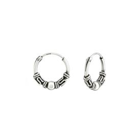 zilveren Bali oorbellen 12 mm creolen