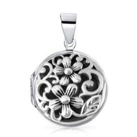 zilveren bloemen medaillon hanger