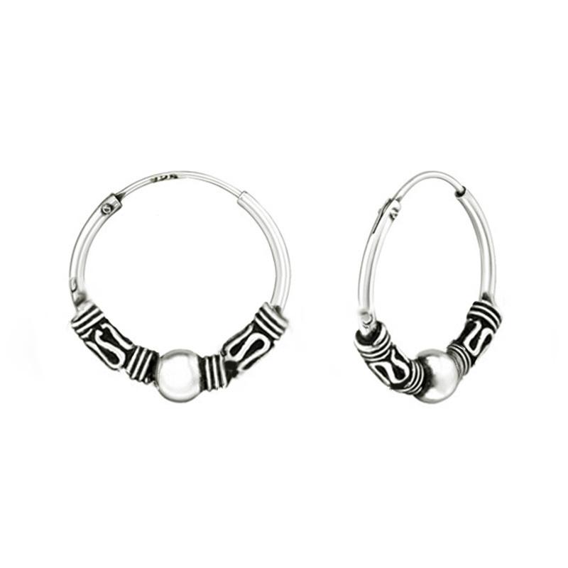 zilveren Bali creolen oorbellen 18 mm