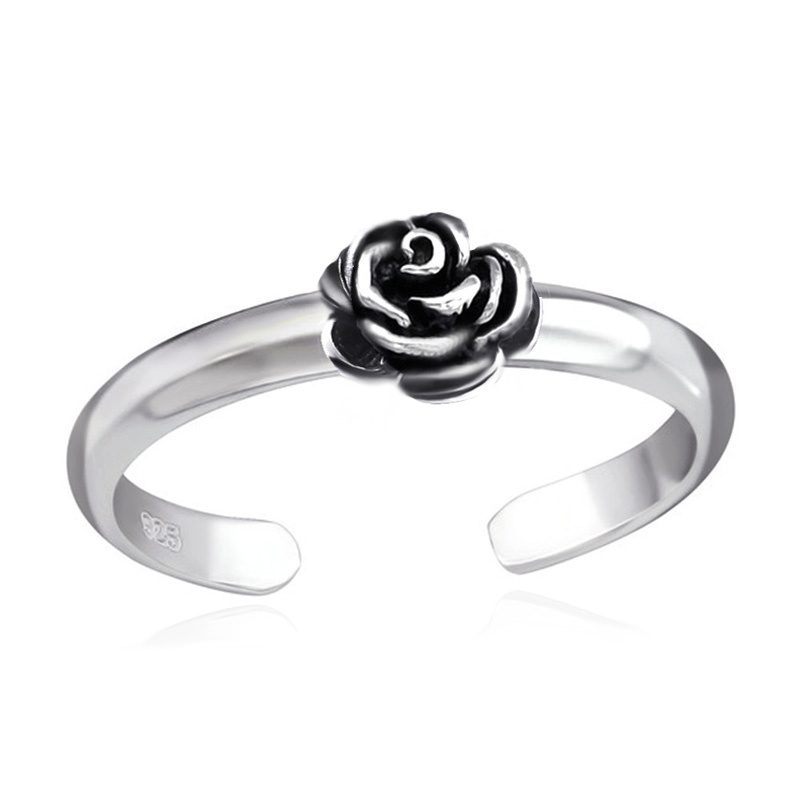 zilveren teenring roos