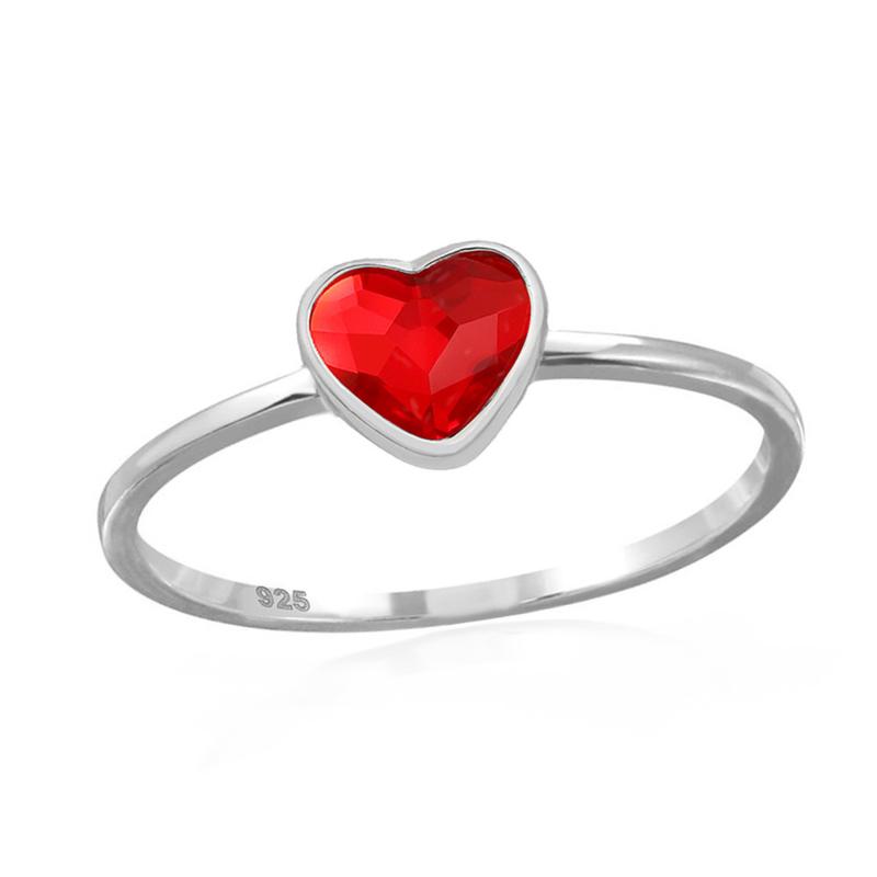 zilveren ring Swarovski kristal hartje
