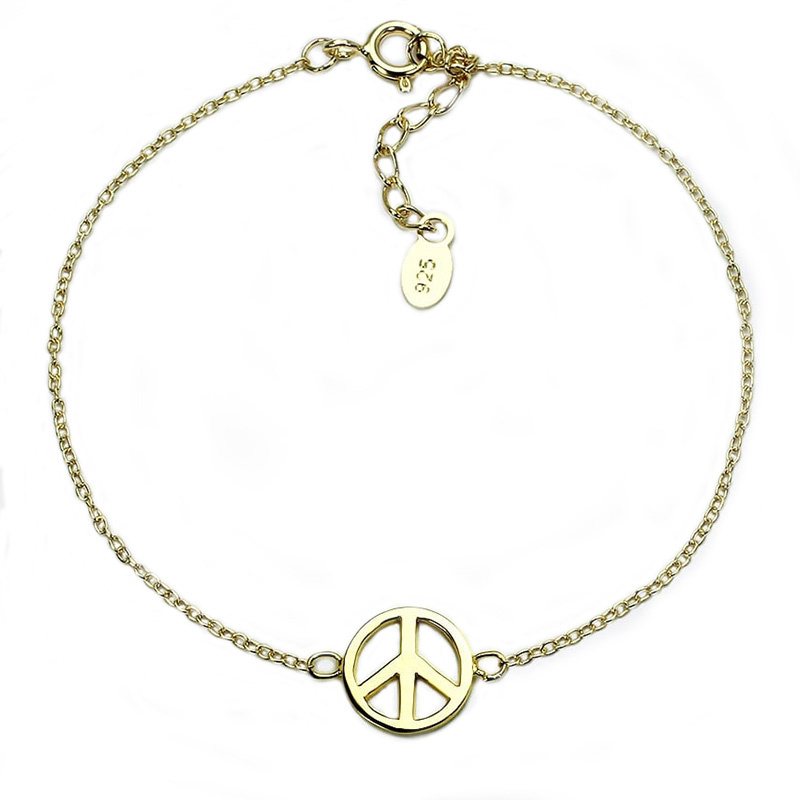 Zilveren Peace armband gold plated