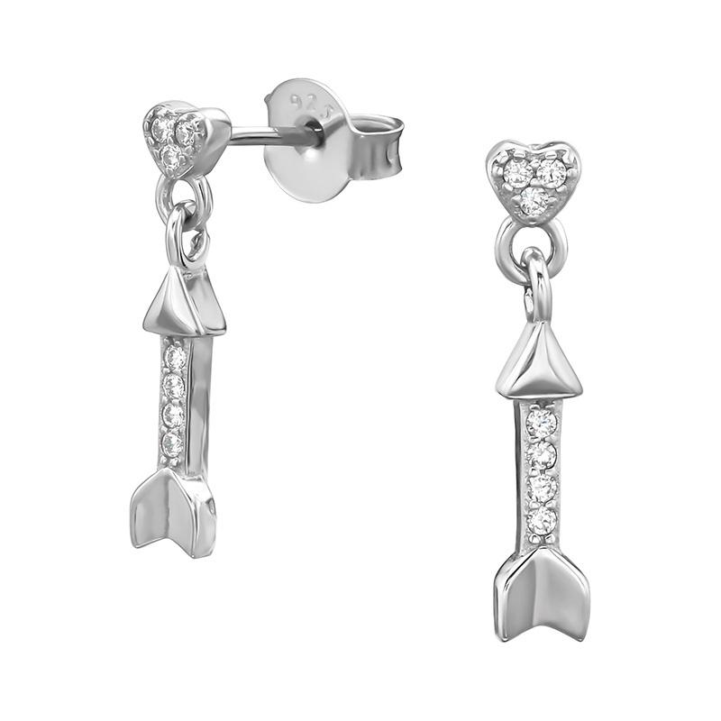 Zilveren hartje met pijl oorbellen
