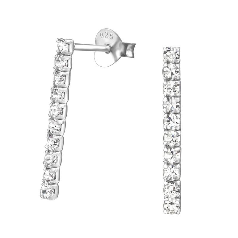 zilveren staafjes oorbellen met kristal