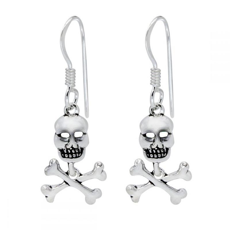 Zilveren Skull doodskop oorbellen