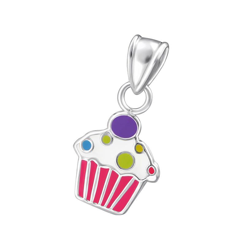 zilveren Cupcake kettinghanger voor kinderen
