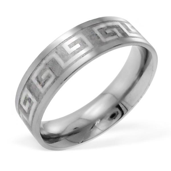 Stalen RVS Grieks design ring