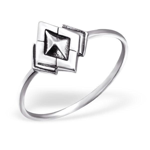 Zilveren minimalistische ruiten ring