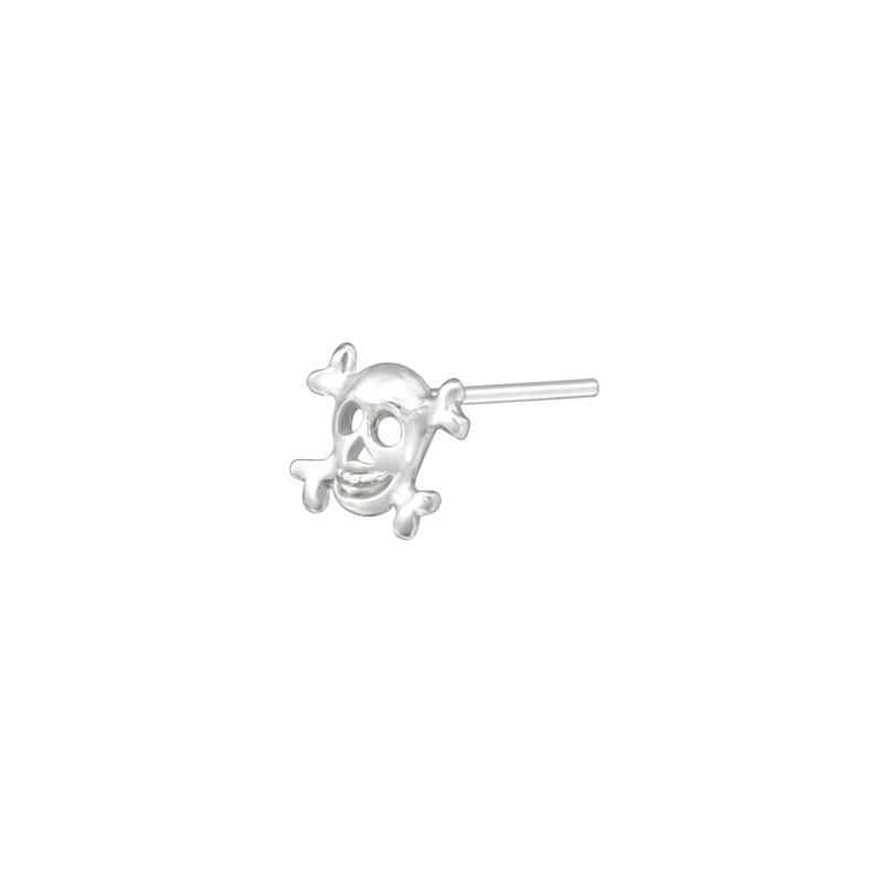 Zilveren neuspiercing skull