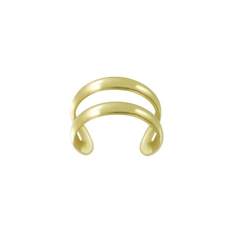 Zilveren gold plated oorklem fake piercing dubbele oorring