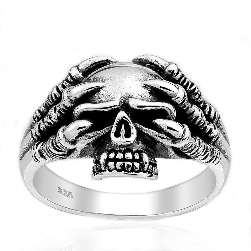 Zilveren doodskop ring
