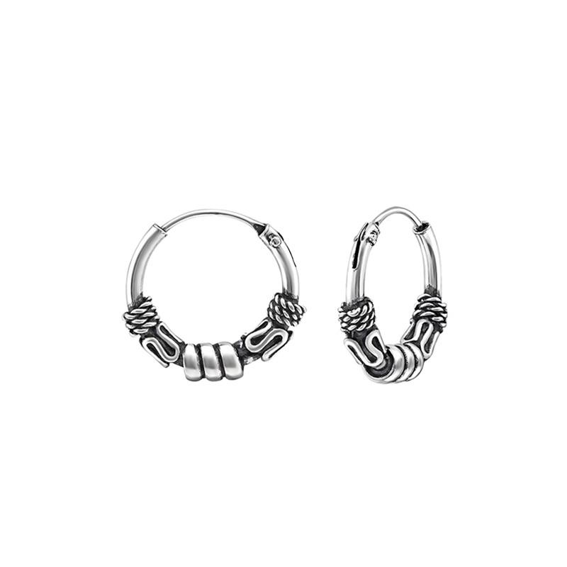 New Mens Sterling Silver Bali Creole Hoop Earring 15mm 925