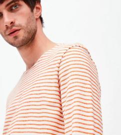 Armed Angels || JAADY stripes tee: off white/dark orange