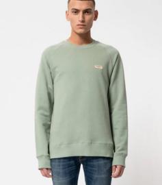 Nudie Jeans || SAMUEL logo sweatshirt: pale green