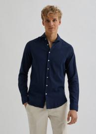Bertoni || BART linen shirt: Dress blue