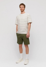 Armed Angels || MAATZE tshirt stripe pocket: white sand green tea